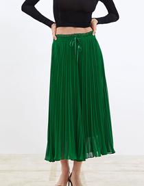 Fashion Green Pleated Knee Wide Leg Pants