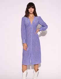 Fashion Purple Floral Single-breasted V-neck Dress