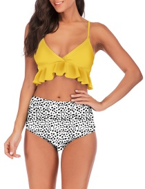 Fashion Yellow + White Print Ruffled Cross Fold High Waist Split Swimsuit