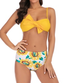 Fashion Yellow Printed Bow High Waist Split Swimsuit