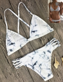 Fashion White Ink Printed Marbled Double-sided Split Swimsuit