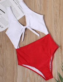 Fashion Red Splicing And Knotted Openwork One-piece Swimsuit