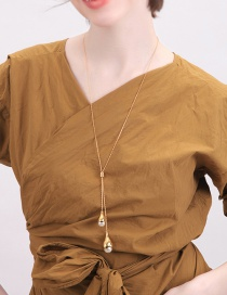 Fashion Gold Pearl Sweater Chain