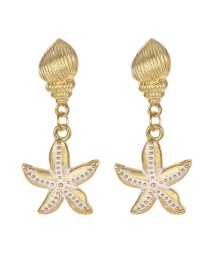 Fashion Gold Alloy Conch Starfish Stud Earrings