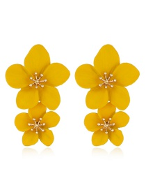 Fashion Yellow Flower Spray Earrings