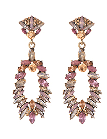 Fashion Pink Alloy Studded Oval Stud Earrings