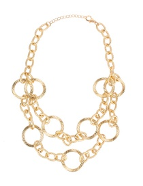 Fashion Gold Size Circle Stitching Double Necklace