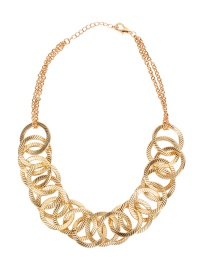 Fashion Gold Alloy Ring Interlocking Necklace