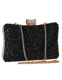 Fashion Black Diamond Jewel Beaded Clutch