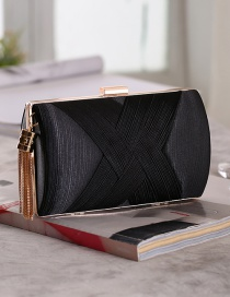 Fashion Black Pleated Satin Woven Metal Tassel Hand Diagonal Cross Bag