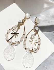 Fashion Gold Crystal Snowflake Studded 925 Silver Stud Earrings