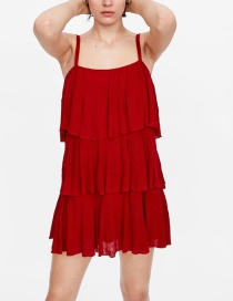 Fashion Red Ruffled Strap Dress