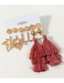Fashion Gold Fringed Maple Leaf Round Earring Set