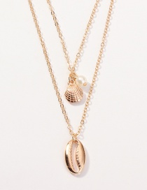 Fashion Gold Shell Pearl Multi-layer Necklace