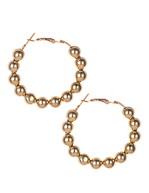 Fashion Gold Resin Gold Beads Circle Stud Earrings