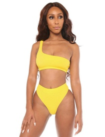 Fashion Yellow One-shoulder Backless Split Swimsuit