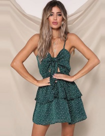 Fashion Green Printed Polka Dot Chest Strap Bow Dress