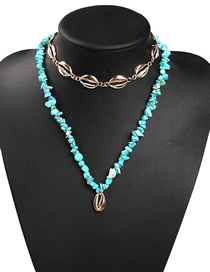 Fashion Blue Alloy Resin Shell Double Necklace