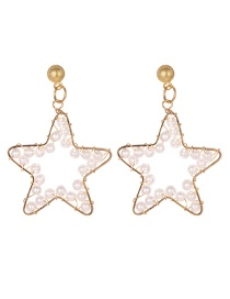 Fashion Gold Alloy Five-pointed Star Pearl Stud Earrings