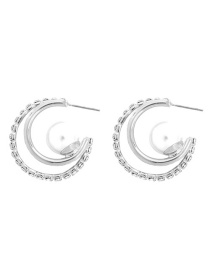 Fashion White K Alloy Pearl Ring Earrings