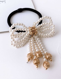 Fashion Gold Imitation Pearl Beaded Bow Hairline