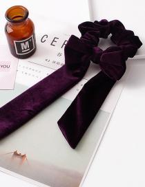 Fashion Dark Purple Ribbon Bow Hair Ring