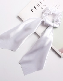 Fashion Pure White Satin Long Ribbon With Large Intestine Circle Flower