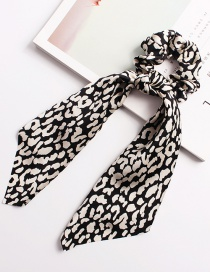 Fashion Round Leopard Ribbon White Bow Elastic Hair Band