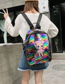 Fashion Large Colorful Cartoon Girl Sequin Backpack