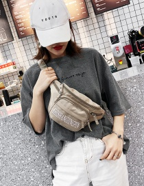 Fashion Khaki Letter Print Diagonal Cross Chest Bag
