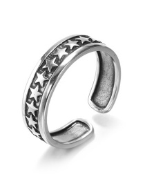 Fashion Silver 925 Silver Pentagram Open Ring