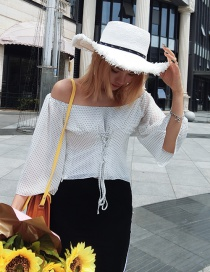 Fashion White Polka Dot Tie Rope Top