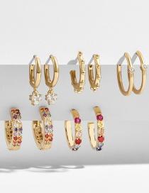 Fashion Gold Gemstone Stud Earrings Set 5 Pairs