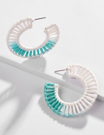 Fashion Green Hollow Section Dyed Woven Earrings