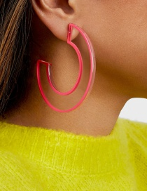 Fashion Red Transparent Geometric C-color Colored Earrings