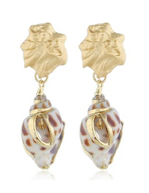 Fashion Gold Color Drop Oil Conch Earrings