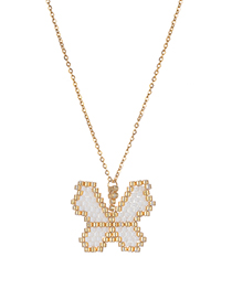 Fashion Butterfly Stainless Steel Electroplated Braided Butterfly Necklace