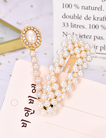 Fashion Gold Alloy Pearl Diamond Triangle Hair Clip Two-piece