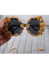 Fashion Gold Carved Sunglasses
