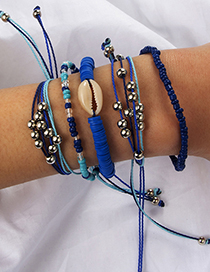 Fashion Blue Shell Pineapple Beaded String Bracelet Five-piece