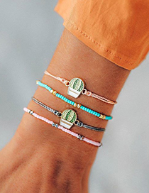 Fashion Color Beads Color String Rope Hot Air Balloon Bracelet Set Of 4