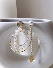 Fashion Gold Asymmetric Pearl Ring With Diamond Coin Earrings