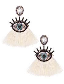 Fashion Creamy-white Alloy Diamond-set Glasses Tassel Earrings