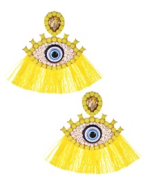Fashion Yellow Alloy Diamond-studded Resin Glasses Tassel Earrings