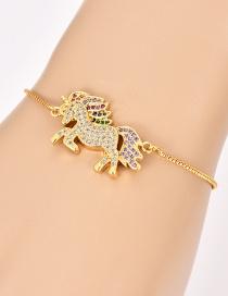 Fashion Gold Copper Inlaid Zircon Pegasus Bracelet