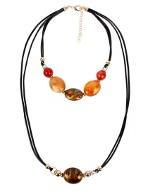 Fashion Brown Wax Rope Beaded Double Necklace