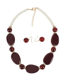 Fashion Red Wine Shaped Beaded Necklace Set