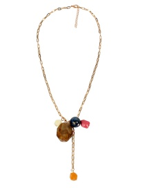 Fashion Dark Yellow Square Buckle Chain Shaped Stream Beads Pendant Necklace