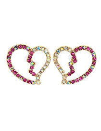 Fashion Gold Color Drill Love-shaped Diamond Stud Earrings