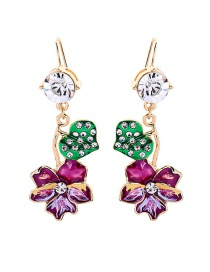 Fashion Color Drip Oil Flower Stud Earrings